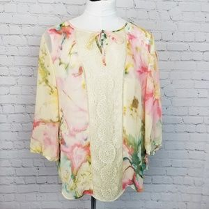 Chico's Tops - ♡ Chico's|Watercolor Peasant Blouse